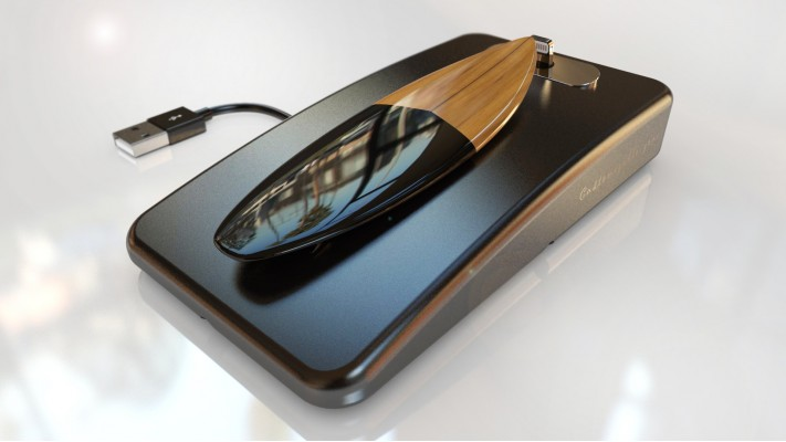 Surfboard usb charging station for smartphones - solid aluminum cherry wood from America black