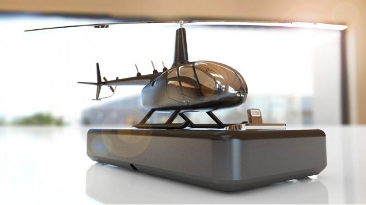 Hélicoptère Robinson 66 station de recharge pour smartphones - aluminium massif nickel noir