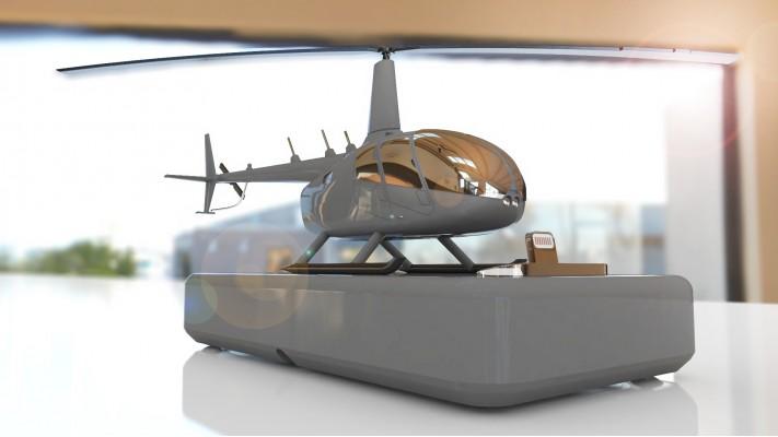 Hélicoptère Robinson 66 station de recharge pour smartphones - aluminium massif nickel gris