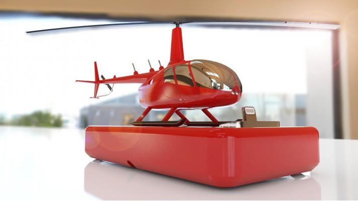 Hélicoptère Robinson 66 station de recharge pour smartphones - aluminium massif nickel rouge