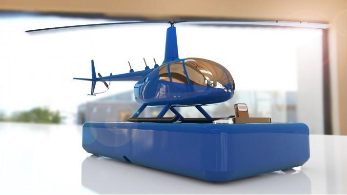 Hélicoptère Robinson 66 station de recharge pour smartphones - aluminium massif nickel bleu