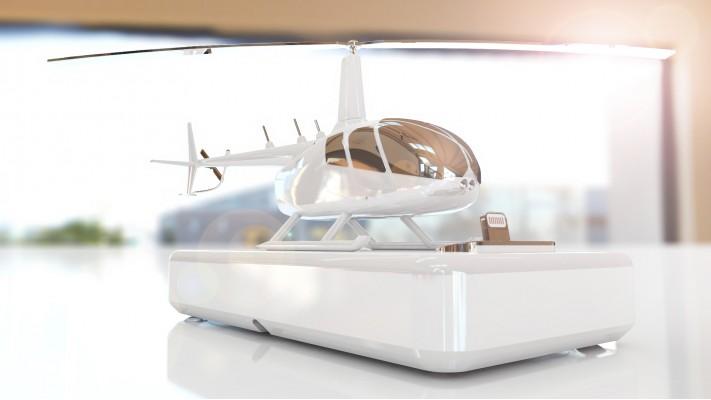 Hélicoptère Robinson 66 station de recharge pour smartphones - aluminium massif nickel blanc