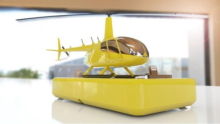 Hélicoptère Robinson 66 station de recharge pour smartphones - aluminium massif nickel jaune